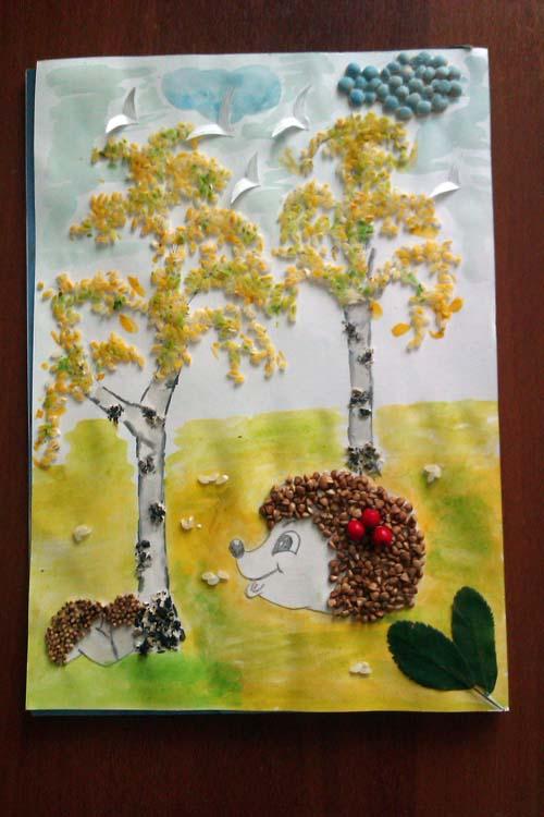 Осенние поделки из крупы для детского сада 71